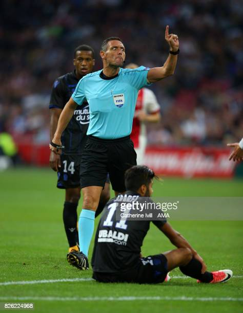 Referee Andre Marriner during the UEFA Champions League Qualifying Third Round match between Ajax and OSC Nice at Amsterdam Arena on August 2 2017 in...