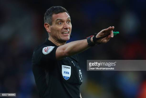 Referee Andre Marriner in action during the Premier League match between Crystal Palace and Sunderland at Selhurst Park on February 4 2017 in London...