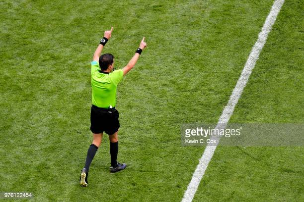 Referee Andres Cunha awards a penalty after consulting a VAR review during the 2018 FIFA World Cup Russia group C match between France and Australia...