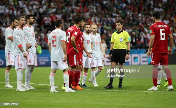 Referee Andres Cunha before awarding Spain a goal kick disallowing Iran's first goal during the 2018 FIFA World Cup Russia group B match between Iran...