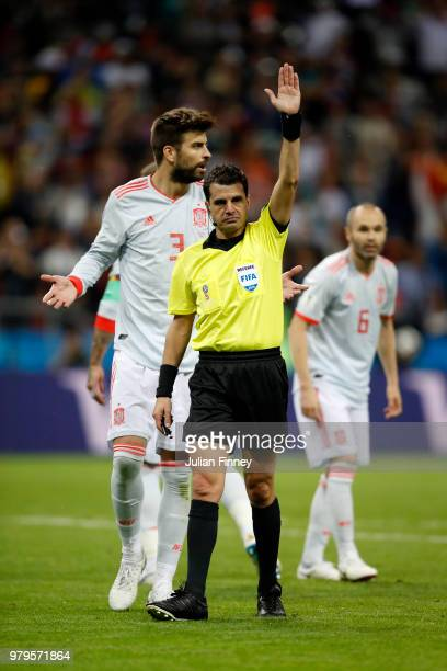 Referee Andres Cunha disallows Iran's first goal during the 2018 FIFA World Cup Russia group B match between Iran and Spain at Kazan Arena on June 20...