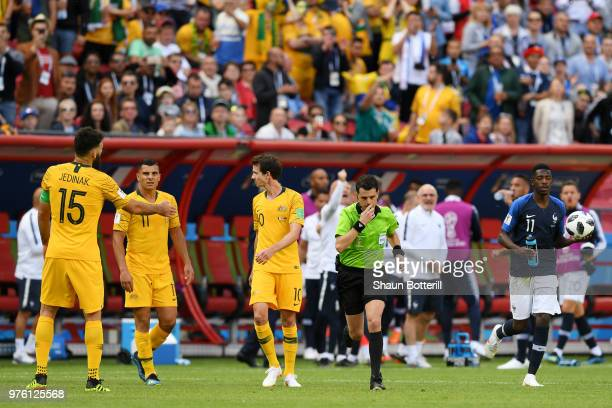 Referee Andres Cunha gives a penalty to France after the VAR check during the 2018 FIFA World Cup Russia group C match between France and Australia...