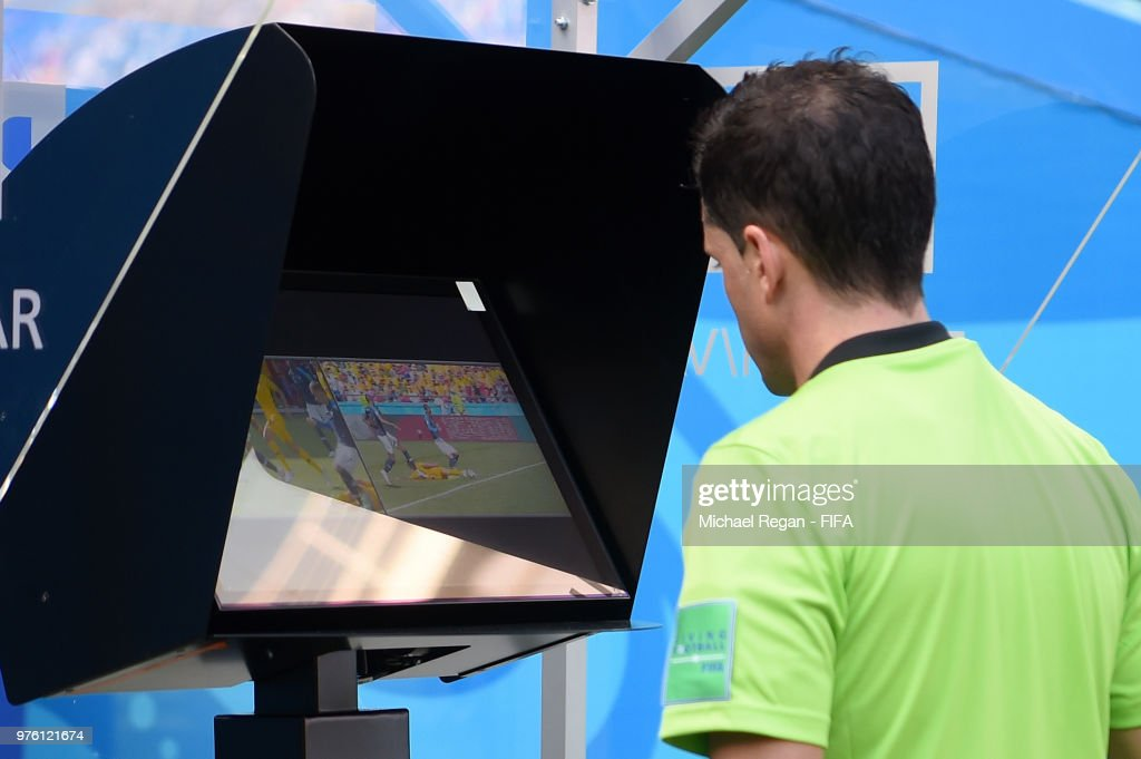 Referee Andres Cunha reviews the VAR footage, before awarding France a penalty during the 2018 FIFA World Cup Russia group C match between France and Australia at Kazan Arena on June 16, 2018 in Kazan, Russia.