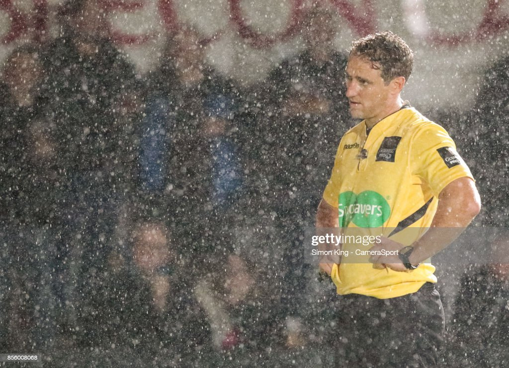 Referee Andrew Brace during the Guinness Pro14 Round 5 match between Dragons and Southern Kings at Rodney Parade on September 30, 2017 in Newport, Wales.