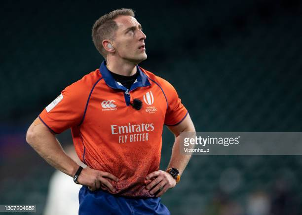 Referee Andrew Brace during the Guinness Six Nations match between England and France at Twickenham Stadium on March 13, 2021 in London, England....