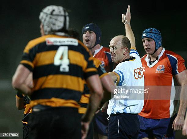 Referee Andrew Lindsay signals a call during the round one Australian Rugby Championship match between the Perth Spirit and the West Sydney Rams at...