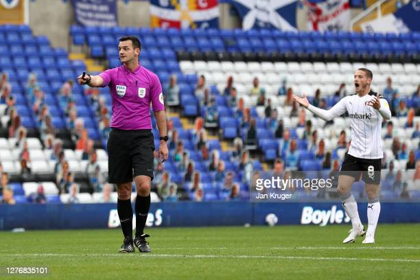 Referee Andrew Madley points to the penalty spot during the Sky Bet Championship match between Birmingham City and Rotherham United at St Andrew's...