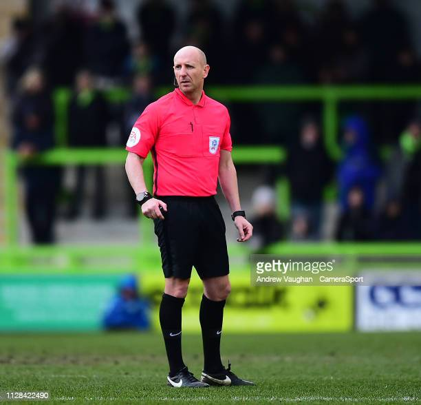 Referee Andy Davies during the Sky Bet League Two match between Forest Green Rovers and Lincoln City at The New Lawn on March 2 2019 in Nailsworth...