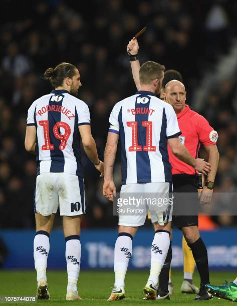 Referee Andy Davies red cards WBA player Jay Rodriguez during the Sky Bet Championship match between West Bromwich Albion and Sheffield Wednesday at...