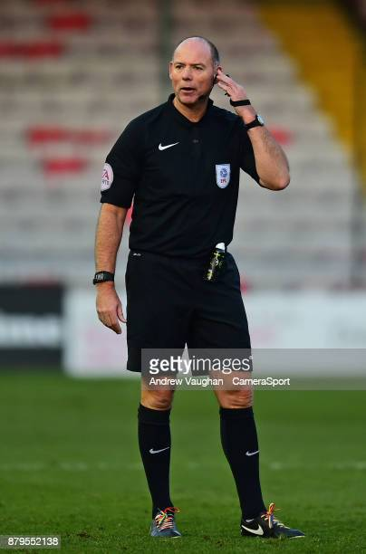 Referee Andy Haines during the Sky Bet League Two match between during the Sky Bet League Two match between Lincoln City and Port Vale at Sincil Bank...