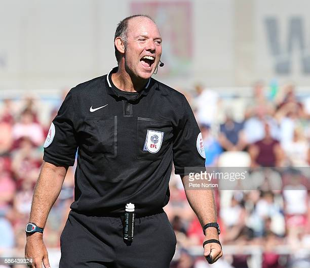 Referee Andy Haines in action during the Sky Bet League One match between Northampton Town and Fleetwood Town at Sixfields Stadium on August 6 2016...