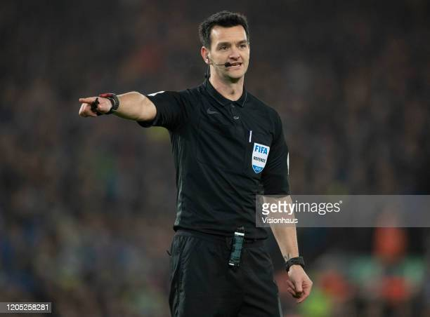 Referee Andy Madley during the FA Cup Fourth Round Replay match between Liverpool and Shrewsbury Town at Anfield on February 4 2020 in Liverpool...