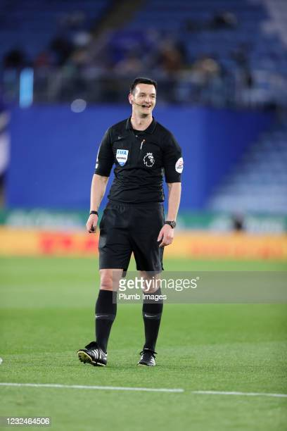 Referee Andy Madley during the Premier League match between Leicester City and West Bromwich Albion at The King Power Stadium on April 22, 2021 in...