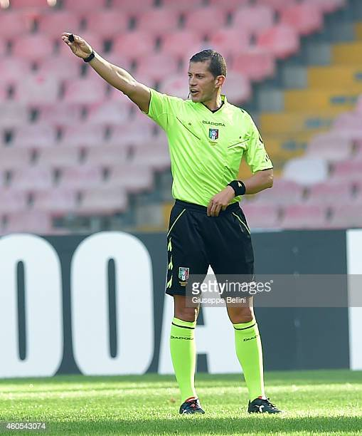 Referee Angelo Cervellera during the Serie A match between SSC Napoli and Empoli FC at Stadio San Paolo on December 7 2014 in Naples Italy