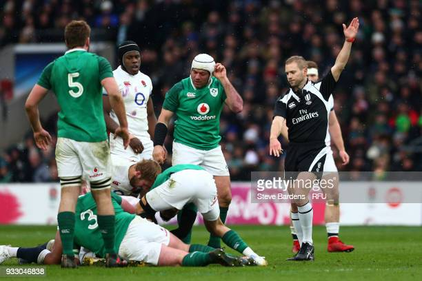 Referee Angus Gardner awards a penalty to Ireland during the NatWest Six Nations match between England and Ireland at Twickenham Stadium on March 17...
