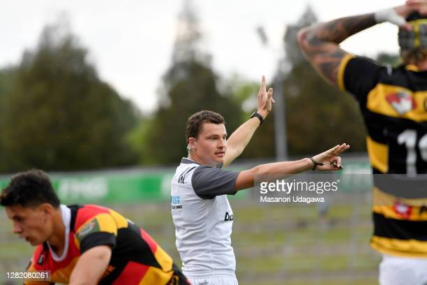 Referee Angus Mabey during the round 7 Mitre 10 Cup match between Waikato and Taranaki at FMG Stadium on October 25 2020 in Hamilton New Zealand
