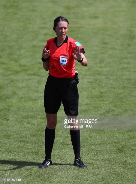 Referee AnnaMarie Keighley during the FIFA U20 Women's World Cup France 2018 group D match between Nigeria and Germany at on August 6 2018 in...