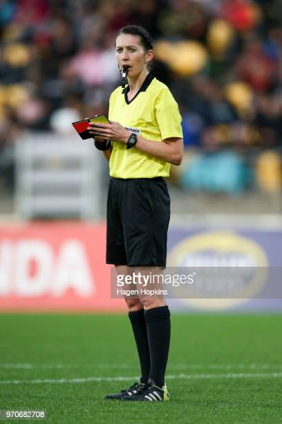 Referee AnnaMarie Keighley looks on during the International Friendly match between the New Zealand Football Ferns and Japan at Westpac Stadium on...
