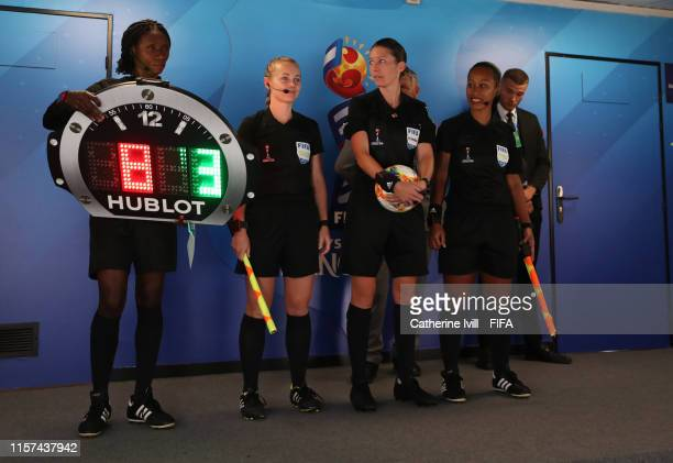 Referee AnneMarie Keithley with assistants Sarah Jones Maria Salamasina and fourth official Gladys Lengwe during the 2019 FIFA Women's World Cup...