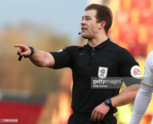 Referee Anthony Backhouse in action during the Sky Bet League One match between Lincoln City and Northampton Town at LNER Stadium on January 23, 2021...
