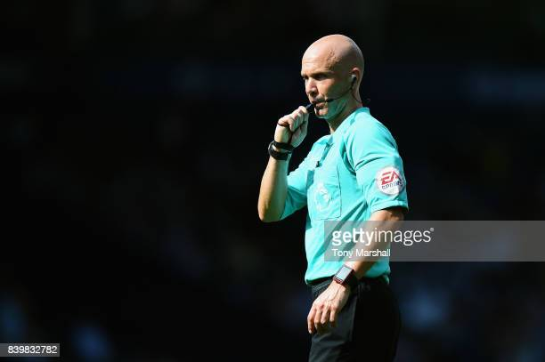 Referee Anthony Taylor blows his whistel during the Premier League match between West Bromwich Albion and Stoke City at The Hawthorns on August 27...