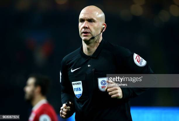Referee Anthony Taylor during the Carabao Cup SemiFinal First Leg match between Manchester City and Bristol City at Etihad Stadium on January 9 2018...