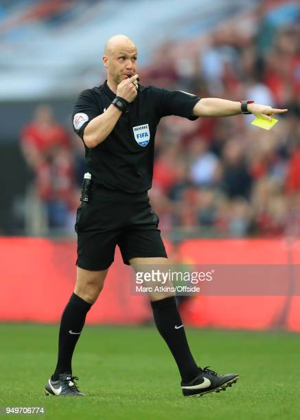 Referee Anthony Taylor during the Emirates FA Cup Semi Final at Wembley Stadium between Manchester United and Tottenham Hotspur on April 21 2018 in...