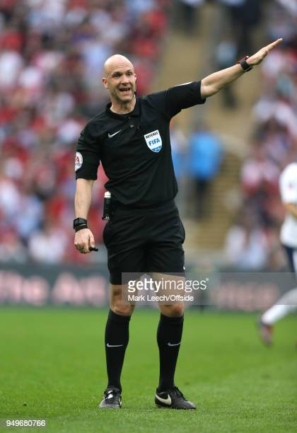 referee Anthony Taylor during the FA Cup semi final between Manchester United and Tottenham Hotspur at Wembley Stadium on April 21 2018 in London...