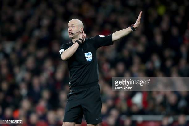 Referee Anthony Taylor during the FA Cup Third Round match between Arsenal and Leeds United at Emirates Stadium on January 6 2020 in London England
