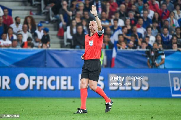 Referee Anthony Taylor during the International Friendly match between France and Italy at Allianz Riviera Stadium on June 1 2018 in Nice France