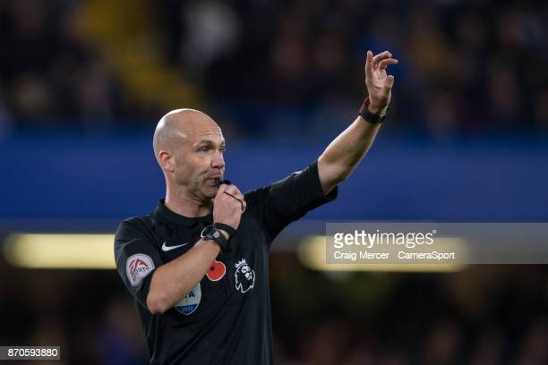 Referee Anthony Taylor during the Premier League match between Chelsea and Manchester United at Stamford Bridge on November 5 2017 in London England