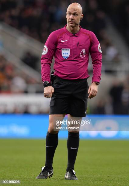 Referee Anthony Taylor during the Premier League match between Newcastle United and Brighton and Hove Albion at St James Park on December 30 2017 in...