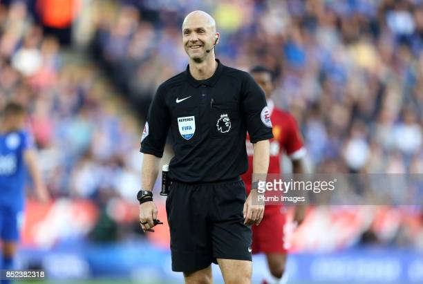 Referee Anthony Taylor during the Premier League match between Leicester City and Liverpool at King Power Stadium on September 23rd 2017 in Leicester...