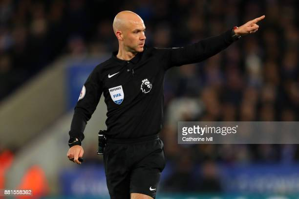 Referee Anthony Taylor during the Premier League match between Leicester City and Tottenham Hotspur at The King Power Stadium on November 28 2017 in...