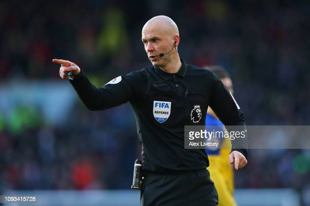 Referee Anthony Taylor during the Premier League match between Burnley FC and Southampton FC at Turf Moor on February 2 2019 in Burnley United Kingdom