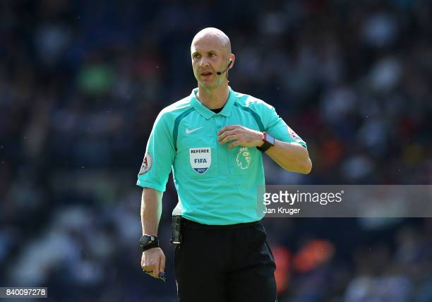 Referee Anthony Taylor during the Premier League match between West Bromwich Albion and Stoke City at The Hawthorns on August 27 2017 in West...