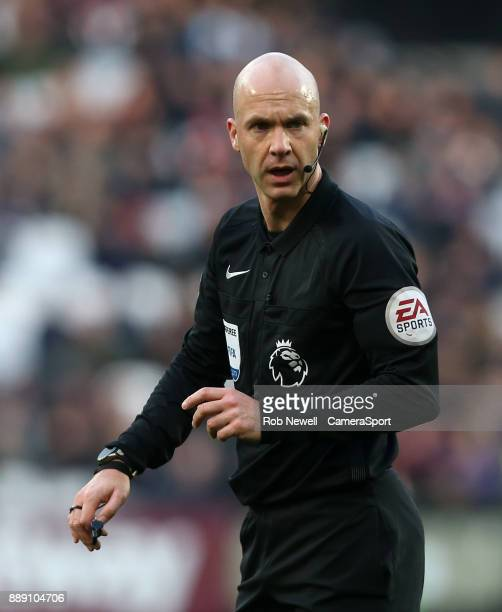 Referee Anthony Taylor during the Premier League match between West Ham United and Chelsea at London Stadium on December 9 2017 in London England