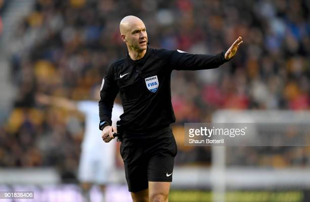 Referee Anthony Taylor during the The Emirates FA Cup Third Round match between Wolverhampton Wanderers and Swansea City at Molineux on January 6...