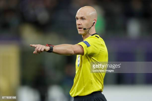 referee Anthony Taylor during the UEFA Champions League match between Anderlecht v Bayern Munchen at the Constant Vanden Stock Stadium on November 22...