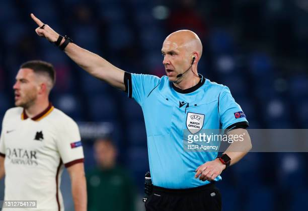 Referee Anthony Taylor during the UEFA Europa League Quarter Final: Leg Two match between AS Roma and Ajax at Stadio Olimpico on April 15, 2021 in...