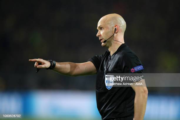 Referee Anthony Taylor from England during the Group A match of the UEFA Champions League between Borussia Dortmund and Club Atletico de Madrid at...