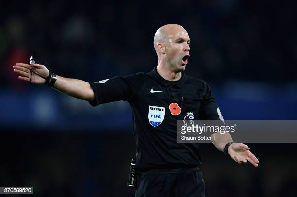 Referee Anthony Taylor gestures during the Premier League match between Chelsea and Manchester United at Stamford Bridge on November 5 2017 in London...