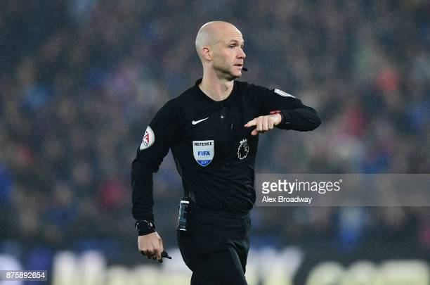 Referee Anthony Taylor gestures during the Premier League match between Crystal Palace and Everton at Selhurst Park on November 18 2017 in London...