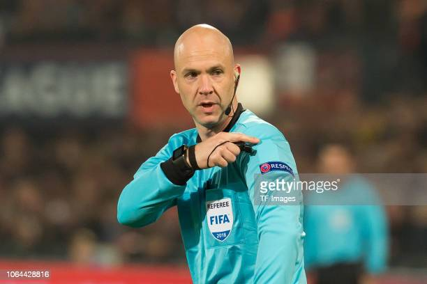 Referee Anthony Taylor gestures during the UEFA Nations League A group one match between Netherlands and France at De Kuip on November 16 2018 in...