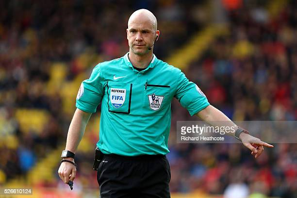 Referee Anthony Taylor in action during the Barclays Premier League match between Watford and Aston Villa at Vicarage Road on April 30 2016 in...