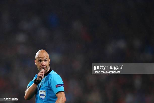 Referee Anthony Taylor in action during the UEFA Champions League Playoffs 2nd leg match between PSV and FC BATE Borisov at Phillips Stadium on...
