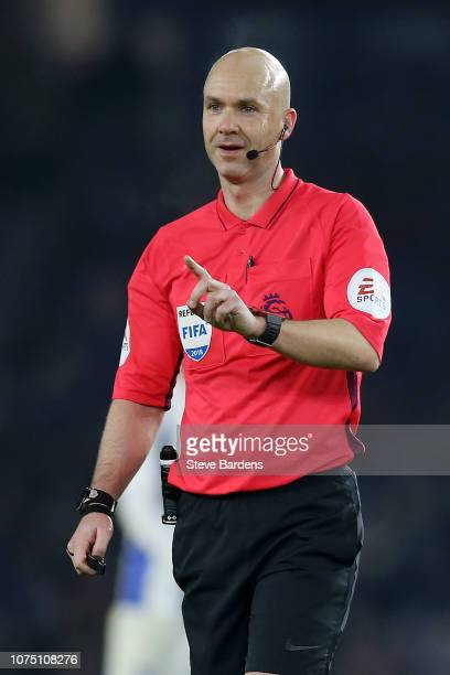 Referee Anthony Taylor looks on during the Premier League match between Brighton Hove Albion and Arsenal FC at American Express Community Stadium on...