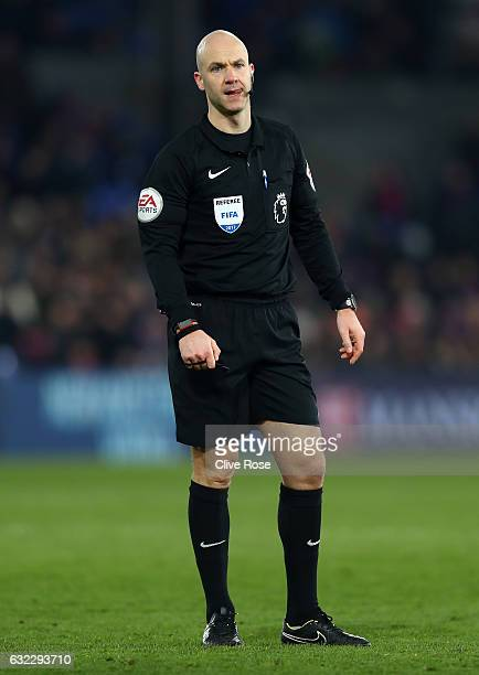 Referee Anthony Taylor looks on during the Premier League match between Crystal Palace and Everton at Selhurst Park on January 21 2017 in London...