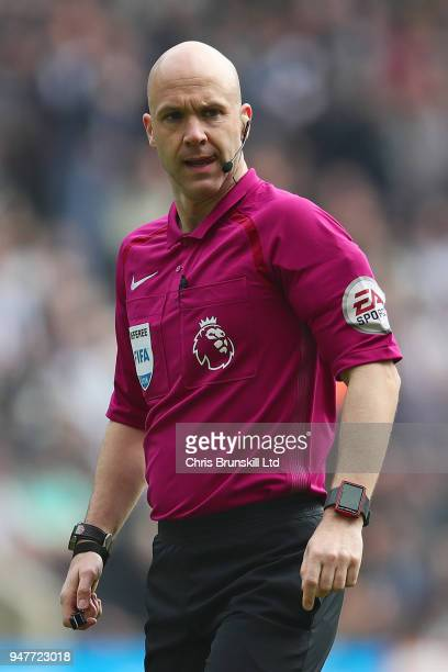 Referee Anthony Taylor looks on during the Premier League match between Newcastle United and Arsenal at St James Park on April 15 2018 in Newcastle...