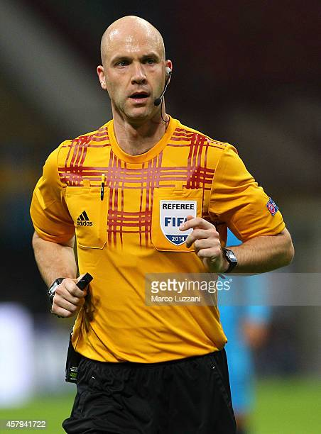 Referee Anthony Taylor looks on during the UEFA Europa League group F match between FC Internazionale Milano and AS SaintEtienne on October 23 2014...